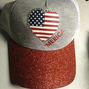 Baseball Ponytail hat American Holiday Hat
